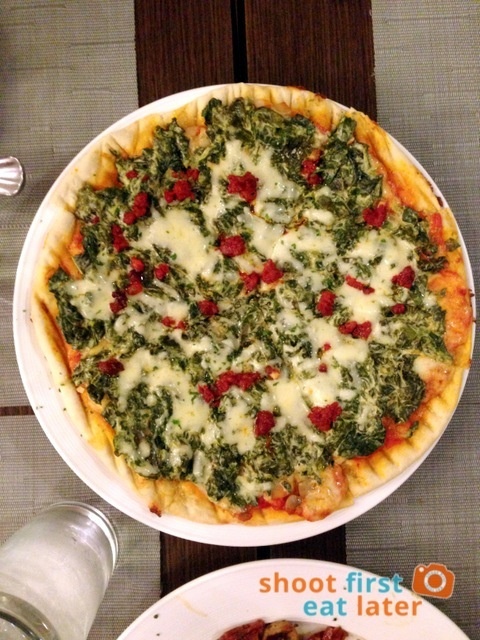 Pizza Due Gusti P497 (chorizo, spinach and mushroom)