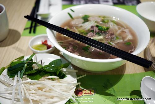 3 combination beef pho noodle soup