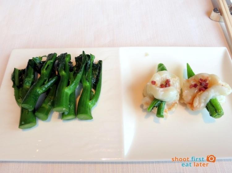Tin Lung Heen - Sautéed Prawns skewered with Jinhua Ham & Vegetable, Sautéed Chinese Kale with Garlic