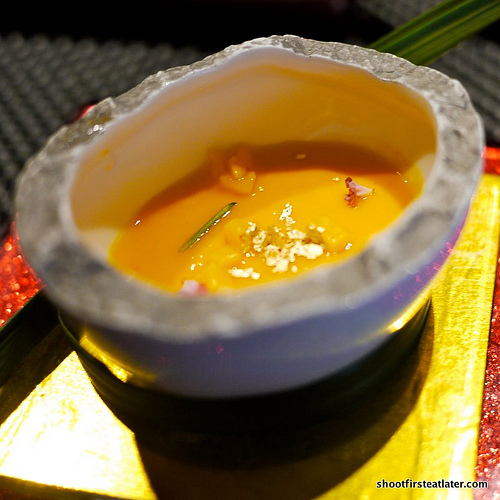 carrot soup w/ mango & foie gras egg custard