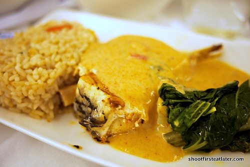 grilled sea bass w/ Thai red curry sauce