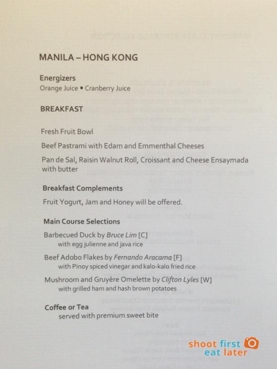 PAL breakfast menu Mnl-Hkg