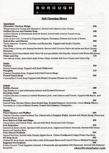 Borough menu front