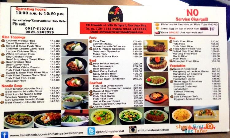Shifu Master's Kitchen menu