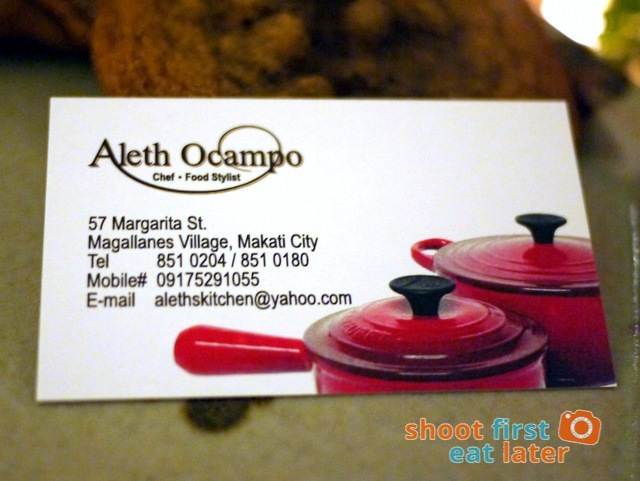 Private Dining by Aleth's Kitchen- Aleth Ocampo business card