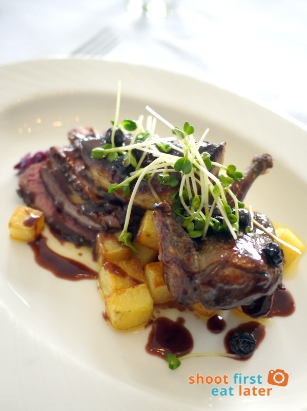 Antonio's Tagaytay- Duo of Roasted Duck Breast and Squabwith Mixed Berries in Red Wine Jus, Confit Potato and Foie Gras P2,300