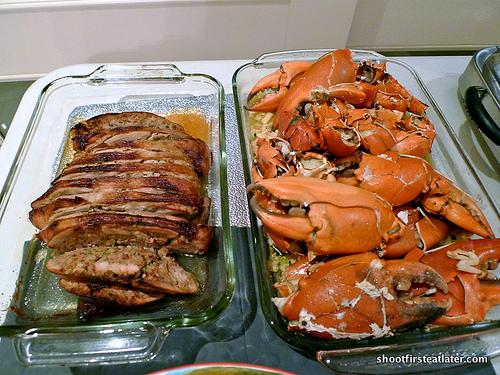 chicken embotido & baked garlic crabs
