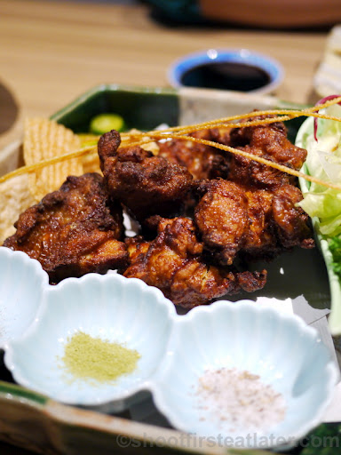 karaage fried chicken thighs with 3 kinds of salt